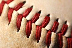 Baseball stitches close up Stock Photography