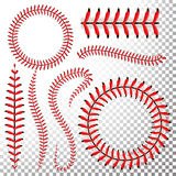 Baseball Stitches Vector Set. Baseball Red Lace Isolated On Transparent Background. Seam Baseball Ball, Seam Of Red Thread Illustr. Baseball Stitches Vector Set Stock Photos
