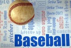 Baseball strike. Baseball close-up on baseball blue and lite blue background Royalty Free Stock Photography