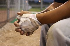 Baseball, Substitute, Bench, Hands Stock Photography