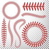 Baseball syr vektoruppsättningen Röd baseball snör åt isolerat på genomskinlig bakgrund Sömsbaseballboll, söm av den röda tråden  stock illustrationer