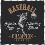 Baseball t-shirt label design Stock Photography