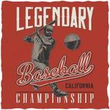 Baseball t-shirt label design Stock Image