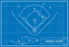 Baseball tactic on blueprint Stock Image