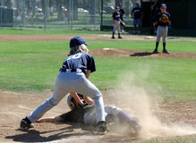 Baseball - Tag At Third Base. Tag Made At 3rd Base in a Little League Game Stock Photo
