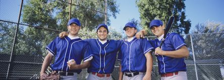 Baseball Team. Wearing blue shirts Royalty Free Stock Photo