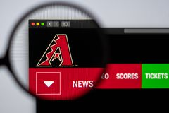 Baseball team Arizona Diamondbacks website homepage. Close up of team logo. Miami / USA - 04.20.2019: Baseball team Arizona Diamondbacks website homepage. Close stock photography
