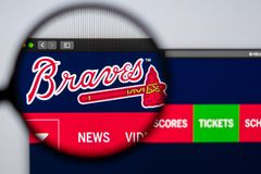 Baseball team Atlanta Braves website homepage. Close up of team logo. Miami / USA - 04.20.2019: Baseball team Atlanta Braves website homepage. Close up of team royalty free stock images