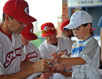 Baseball team autographs - Camden Riversharks Stock Images
