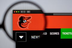 Baseball team Baltimore Orioles website homepage. Close up of team logo. Miami / USA - 04.20.2019: Baseball team Baltimore Orioles website homepage. Close up of royalty free stock images