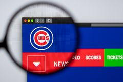 Baseball team Chicago Cubs website homepage. Close up of team logo. Miami / USA - 04.20.2019: Baseball team Chicago Cubs website homepage. Close up of team logo royalty free stock photo