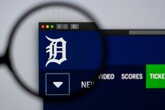 Baseball team Detroit Tigers website homepage. Close up of team logo. Miami / USA - 04.20.2019: Baseball team Detroit Tigers website homepage. Close up of team stock image