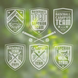 Baseball  team emblem. Set of monochrome emblems  baseball team on blurred background Royalty Free Stock Images