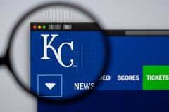 Baseball team Kansas City Royals website homepage. Close up of team logo. Miami / USA - 04.20.2019: Baseball team Kansas City Royals website homepage. Close up royalty free stock photo