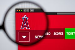 Baseball team Los Angeles Angels website homepage. Close up of team logo. Miami / USA - 04.20.2019: Baseball team Los Angeles Angels website homepage. Close up stock photography