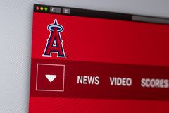 Baseball team Los Angeles Angels website homepage. Close up of team logo. Miami / USA - 04.20.2019: Baseball team Los Angeles Angels website homepage. Close up stock photos