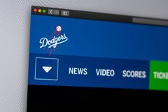 Baseball team Los Angeles Dodgers website homepage. Close up of team logo. Miami / USA - 04.20.2019: Baseball team Los Angeles Dodgers website homepage. Close royalty free stock images