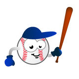 Baseball team mascot. Vector illustration of humor cartoon character as baseball ball with bat, gloves and cap, fun design for child junior teams and related Stock Image
