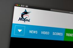 Baseball team Miami Marlins website homepage. Close up of team logo. Miami / USA - 04.20.2019: Baseball team Miami Marlins website homepage. Close up of team stock image