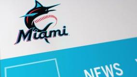 Baseball team Miami Marlins website homepage. Close up of team logo. Miami / USA - 04.20.2019: Baseball team Miami Marlins website homepage. Close up of team stock video