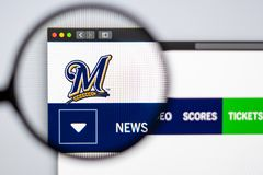 Baseball team Milwaukee Brewers website homepage. Close up of team logo. Miami / USA - 04.20.2019: Baseball team Milwaukee Brewers website homepage. Close up of stock image