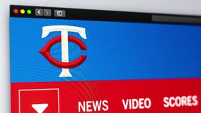 Baseball team Minnesota Twins website homepage. Close up of team logo. stock illustration