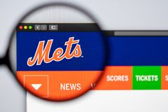 Baseball team New York Mets website homepage. Close up of team logo. Miami / USA - 04.20.2019: Baseball team New York Mets website homepage. Close up of team stock images