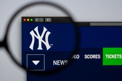 Baseball team New York Yankees website homepage. Close up of team logo. Miami / USA - 04.20.2019: Baseball team New York Yankees website homepage. Close up of stock image