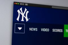Baseball team New York Yankees website homepage. Close up of team logo. stock photos