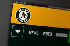 Baseball team Oakland Athletics website homepage. Close up of team logo. Miami / USA - 04.20.2019: Baseball team Oakland Athletics website homepage. Close up of royalty free stock photos