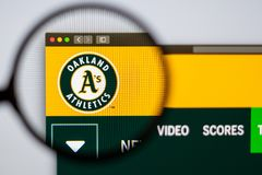Baseball team Oakland Athletics website homepage. Close up of team logo. Miami / USA - 04.20.2019: Baseball team Oakland Athletics website homepage. Close up of stock images