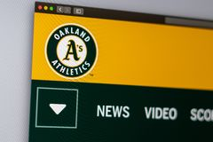 Baseball team Oakland Athletics website homepage. Close up of team logo. stock photography