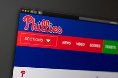 Baseball team Philadelphia Phillies website homepage. Close up of team logo. Miami / USA - 04.20.2019: Baseball team Philadelphia Phillies website homepage stock photography