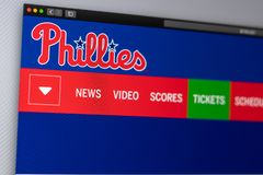Baseball team Philadelphia Phillies website homepage. Close up of team logo. Miami / USA - 04.20.2019: Baseball team Philadelphia Phillies website homepage royalty free stock images