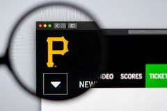 Baseball team Pittsburgh Pirates website homepage. Close up of team logo. Miami / USA - 04.20.2019: Baseball team Pittsburgh Pirates website homepage. Close up stock images