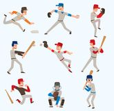 Baseball team players vector sport man in uniform game poses baseball poses situation professional league sporty stock illustration