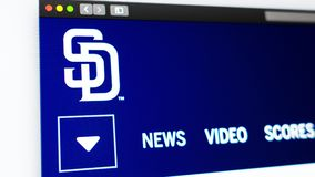 Baseball team San Diego Padres website homepage. Close up of team logo. vector illustration