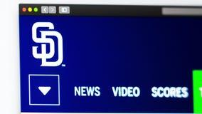 Baseball team San Diego Padres website homepage. Close up of team logo. Miami / USA - 04.20.2019: Baseball team San Diego Padres website homepage. Close up of royalty free illustration
