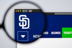 Baseball team San Diego Padres website homepage. Close up of team logo. Miami / USA - 04.20.2019: Baseball team San Diego Padres website homepage. Close up of stock image