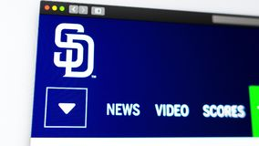 Baseball team San Diego Padres website homepage. Close up of team logo. royalty free illustration