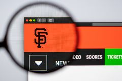 Baseball team San Francisco Giants website homepage. Close up of team logo. Miami / USA - 04.20.2019: Baseball team San Francisco Giants website homepage. Close royalty free stock photo