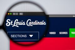 Baseball team St. Louis Cardinals website homepage. Close up of team logo. Miami / USA - 04.20.2019: Baseball team St. Louis Cardinals website homepage. Close stock image