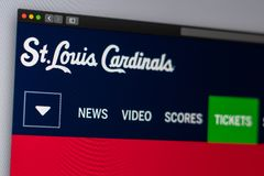 Baseball team St. Louis Cardinals website homepage. Close up of team logo. Miami / USA - 04.20.2019: Baseball team St. Louis Cardinals website homepage. Close stock photography
