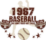 Baseball team. Baseball with star batsman silhouette in the background. The limit does not exist Stock Photography