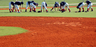 Baseball team stretch Royalty Free Stock Photography
