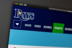 Baseball team Tampa Bay Rays website homepage. Close up of team logo. Miami / USA - 04.20.2019: Baseball team Tampa Bay Rays website homepage. Close up of team royalty free stock image