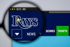 Baseball team Tampa Bay Rays website homepage. Close up of team logo. Miami / USA - 04.20.2019: Baseball team Tampa Bay Rays website homepage. Close up of team royalty free stock photography