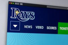 Baseball team Tampa Bay Rays website homepage. Close up of team logo. Miami / USA - 04.20.2019: Baseball team Tampa Bay Rays website homepage. Close up of team stock photo