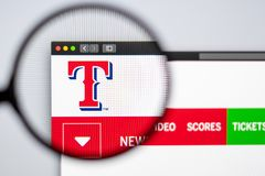 Baseball team Texas Rangers website homepage. Close up of team logo. Miami / USA - 04.20.2019: Baseball team Texas Rangers website homepage. Close up of team royalty free stock images
