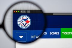 Baseball team Toronto Blue Jays website homepage. Close up of team logo. Miami / USA - 04.20.2019: Baseball team Toronto Blue Jays website homepage. Close up of stock photo